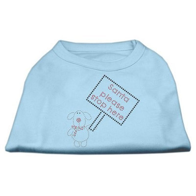 Mirage Pet Products 522512 XSBBL Santa Stop Here Shirts Baby Blue XS 8