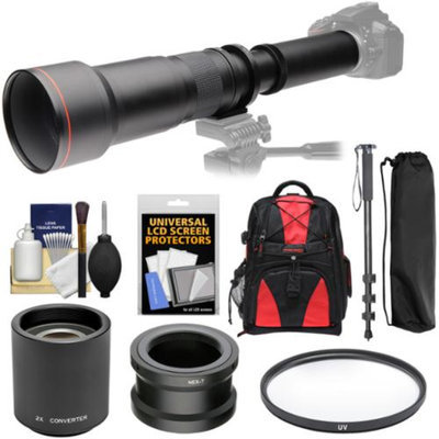 Vivitar 650-1300mm f/8-16 Telephoto Lens with 2x Teleconverter (=2600mm) + Monopod + Backpack + Filter Kit for Sony Alpha A3000, A5000, A5100, A6000, A7, A7R, A7S E-Mount Camera