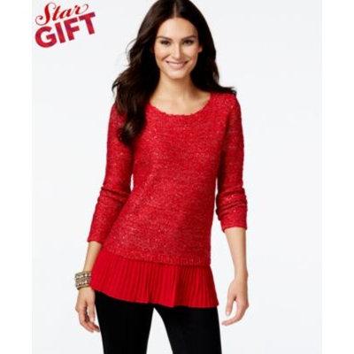 Alfani Chiffon-Hem Sequin Knit Sweater, Only at Macy's