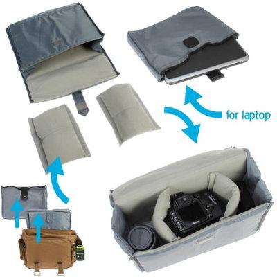 Evecase Large Canvas Messenger DSLR Digital Camera Bag W Rain Cover Tablet Laptop Compartment Removal Padded Insert And Shoulder Strap Brown HEC0NK30U-1608