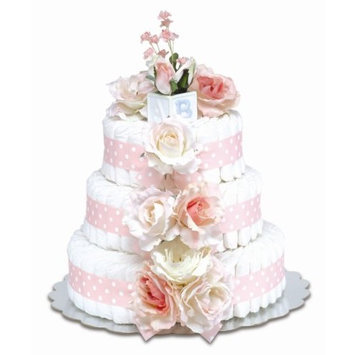 Bloomers Baby Diaper Cake Classic Pink Roses 3-Tier
