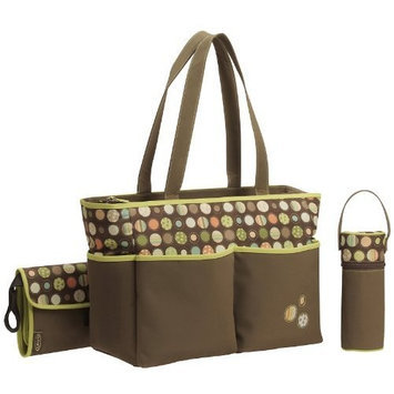 Graco Lively Dots 3 pc Diaper Bag Set - Brown
