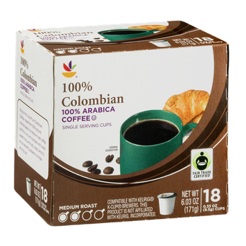 Ahold Coffee Single Serving Cups Medium Roast 100% Colombian - 18 CT