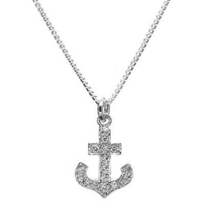 Emitations Morgan's  CZ Anchor Necklace