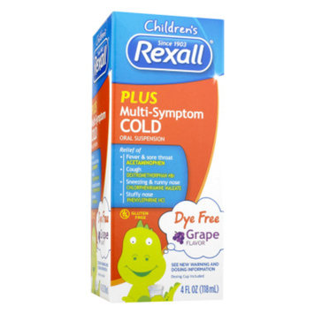 Rexall Children's Plus Multi-Symptom Cold Dye Free - Grape, 4 oz