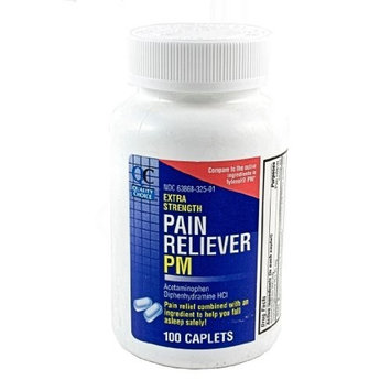 Quality Choice Extra Strength Non-Aspirin PM, Pain Relief/Sleep Aid Caplet, 100-Count (Pack of 4)