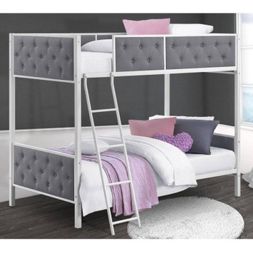 Dorel Home Products DHP Chesterfield Upholstered Bunk Bed