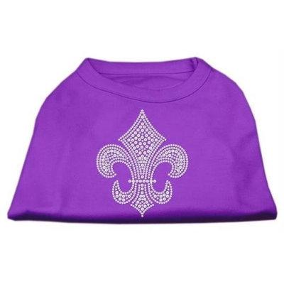 Mirage Pet Products 5230 XXXLPR Silver Fleur de lis Rhinestone Shirts Purple XXXL 20