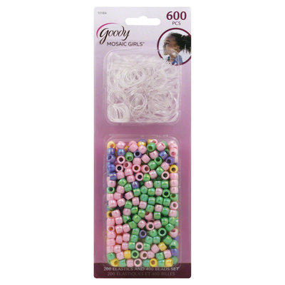 Goody Products Inc. Girls Mosaic Braid Beads and Elastics, 600 CT