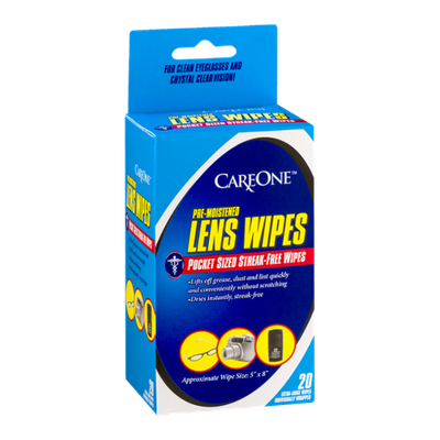 CareOne Pocket Sized Streak-Free Lens Wipes Extra-Large - 20 CT