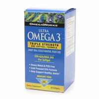 OmegaWorks Ultra Omega 3 Triple Strength One Softgel Formula Dietary Supplement