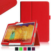 Fintie Samsung Galaxy Note 10.1 2014 Edition Folio Case - Slim Fit Book Style Leather Stand Cover, Red
