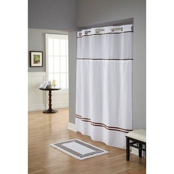 Focus Electrics RBH40ES305 Wht/Brwn Fabric Shwr Curtain