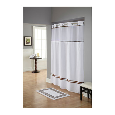 Focus Electrics RBH40ES305 Wht/Brwn Fabric Shwr Curtain