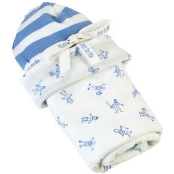 Under The Nile Organics Stroller Blanket & Hat Newborn Gift Set - Little People Blue