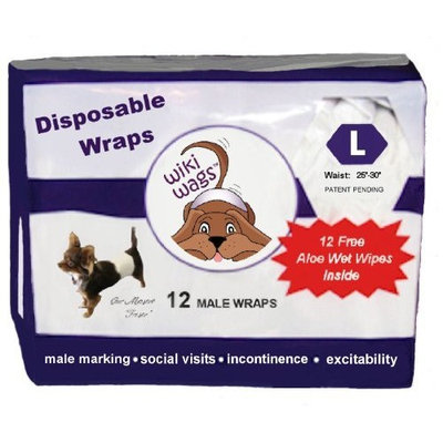 Wiki Wags Brand 12 Male Dog Disposable Wraps (Bellybands)
