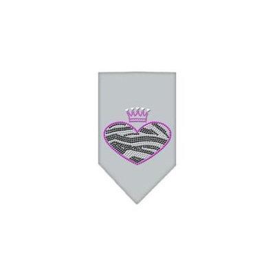 Ahi Zebra Heart Rhinestone Bandana Grey Small