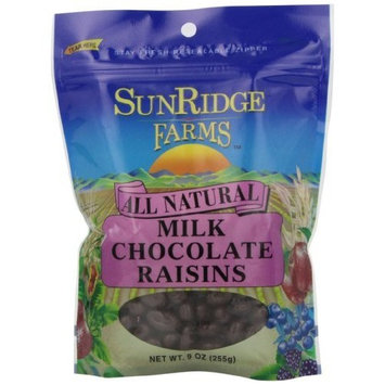Sunridge Farms Milk Chocolate Raisins, 9-Ounce Bags (Pack of 6)