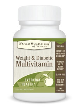 FoodScience of Vermont Weight and Diabetic Multivitamin, Gluten Free and No GMOs, 180 Caplets