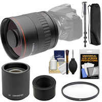 Vivitar 800mm f/8 Mirror Lens with 2x Teleconverter (=1600mm) + Monopod + Filter Kit for Nikon 1 J1, J2, J3, J4, S1, V1, V2, V3 Digital Cameras