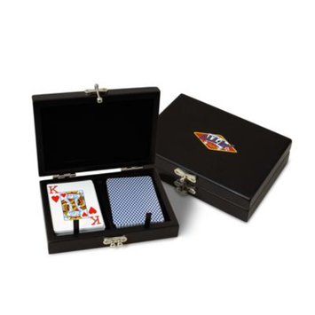Sterling Games Wooden Double Deck Card Box Black