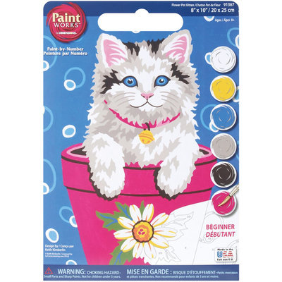 Dimensions 8x10 Learn To Paint Paint By Number Kit - Flowerpot Cat