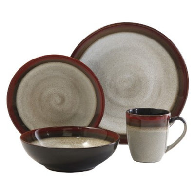 Gibson Couture Bands 16 piece Dinnerware Set - Red/Brown