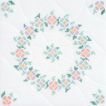 Jack Dempsey Inc. Jack Dempsey Interlocking XX Spring Blossoms Stamped White Quilt Blocks, 18