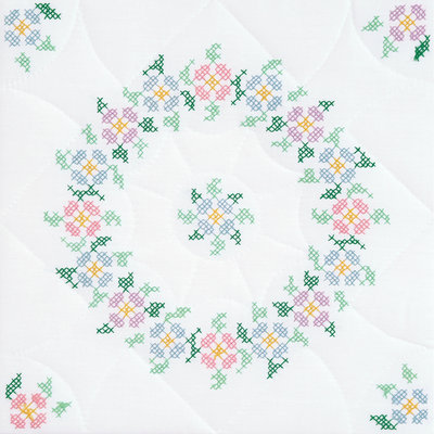 Jack Dempsey Inc. Jack Dempsey Interlocking XX Spring Blossoms Stamped White Quilt Blocks, 18