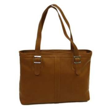 Piel Leather Ladies Laptop Tote w Double Adjustable Straps in Chocolate
