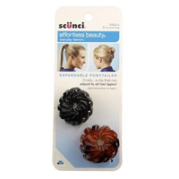 Pack 2-Scunci Effortless Beauty Expnadbale PonyTailer-Black/Brown (4 pcs)