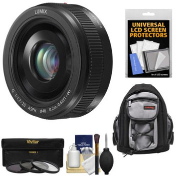 Panasonic Lumix G Vario 20mm f/1.7 II ASPH Lens (Black) with 3 UV/ND8/CPL Filters + Backpack Case + Kit for G5, G6, GF5, GF6, GH3, GH4, GM1, GX7 Cameras