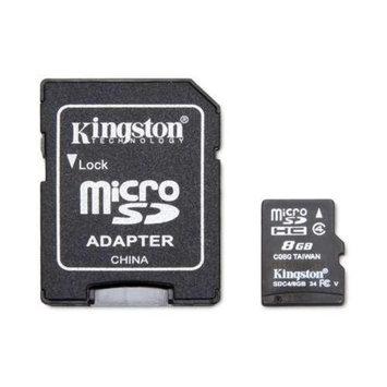 Kingston KR-C118G-2MQ 8GB microSDHC Flash Card - Class 4, Adapter, FAT 32, (RETAIL)