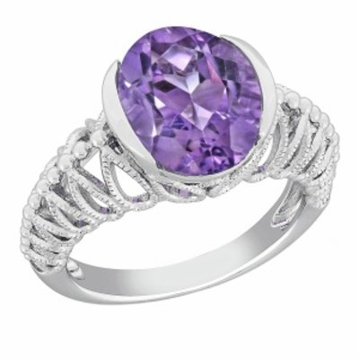 Amour Silver Woven Shank Amethyst Ring, 5, Purple, 1 ea
