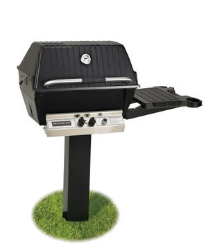 Broilmaster H4PK2N Natural Gas H4XN Grill Head Package with In Ground Post (BL48G) and 1 Drop Down Side Shelf