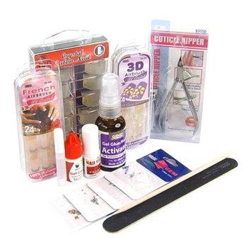 Nail Kit 15 Piece - 100 Tips, Glue, Polish, Brush, Cuticle Nipper +Gems by Sassi