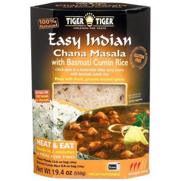 Tiger Tiger Tiger Easy Indian Heat & Eat, Chana Masala with Basmati Cumin Rice, 19.4-Ounce Boxes (Pack of 6)