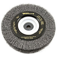 Forney 72896 Wire Bench Wheel Brush Industrial Pro Crimped with 1/2-Inch Through 2-Inch Multi Arbor