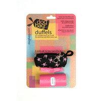 Doggie Walk Bags 2-Roll Duffel, Black/Pink Skulls