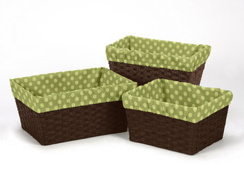 Sweet Jojo Designs 3 Piece Forest Friends Polka Dot Print Basket Liner Set