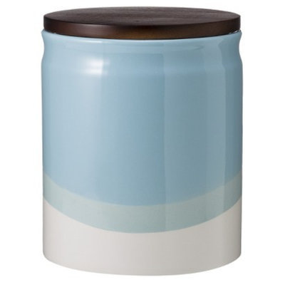 Threshold Ceramic Dipped Paint Large Food Canister with Wood Lid -