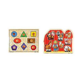 Melissa & Doug Large Shapes and Large Farm Wooden Jumbo Knob Puzzle