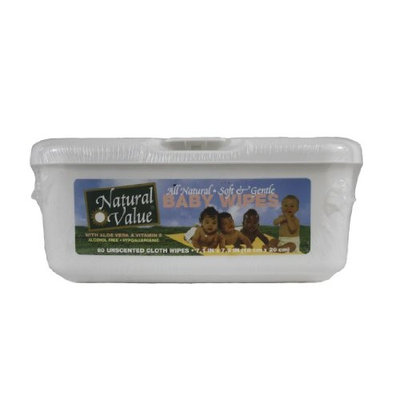 Natural Value All Natural Soft & Gentle Baby Wipes, 80 Wipes (Pack of 12)