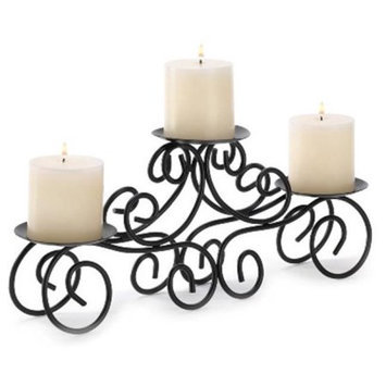 Zingz & Thingz 57070488 Tuscan Black Iron Candle Centerpiece