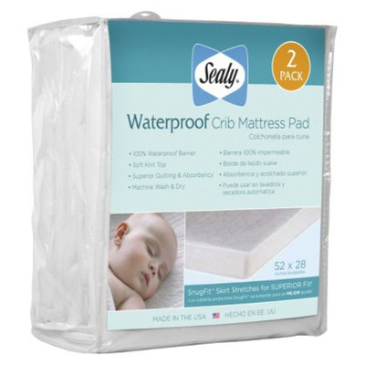 Waterproof Crib Mattress Pad - 2 Pack by Sealy