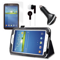 Black Folio Case with Earphones, Screen Protector, and Car Charger for Samsung Galaxy Tab 3 7