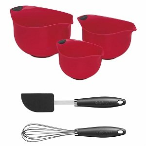Cuisinart CTG-00-3B2GR Red Mixing Bowl Set with Whisk and Spatula