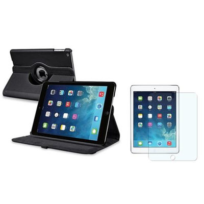 Insten INSTEN Black 360 Rotating PU Leather Case Cover+Matte Protector For Apple iPad Air 5 5th Gen