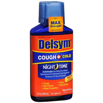 Delsym Adult Liquid Cough + Cold Nighttime, , Mixed Berry, 6 fl oz