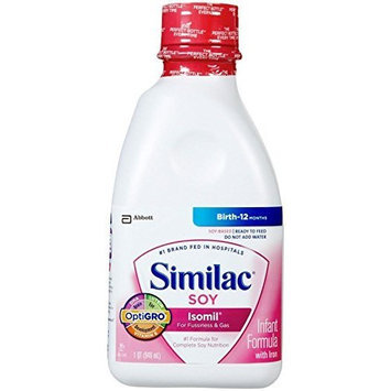 Similac Soy Isomil, Ready to Feed Infant Formula with Iron, 32-Fluid Ounce (Pack of 6)